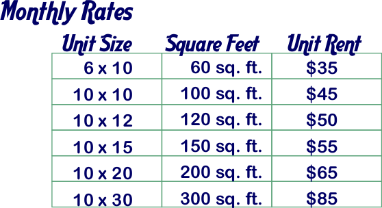 Rates and Storage Unit Sizes in Buffalo, Wyoming